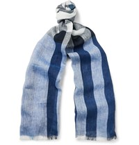 Burberry Checked Linen Scarf Blue