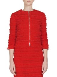 Givenchy Ruched Tulle Stripe Zip Front Jacket Red