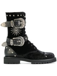 Fausto Puglisi Buckled Boots Calf Leather Leather Velvet Rubber Black
