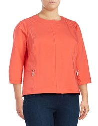 Rafaella Plus Solid Cotton Blend Jacket Bright Coral