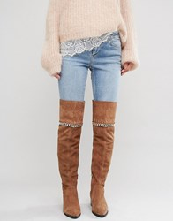 Asos Keeta Suede Chain Over The Knee Boots Chestnut Tan