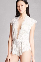 Forever 21 Sheer Lace V Neck Romper White