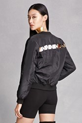 Forever 21 Ring Cutout Bomber Jacket