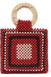 Ulla Johnson Keya Mini Beaded Tote Red