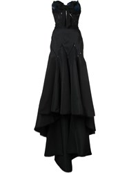 Marchesa Draped Train Corset Gown Black