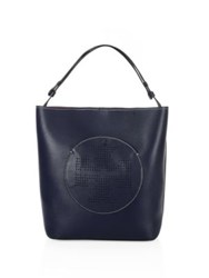 Tory Burch Perforated Logo Leather Hobo Sand Dune