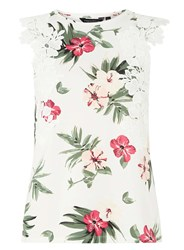 Dorothy Perkins Ivory Tropical Print Lace Trim Shell Top White