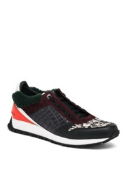 Fendi Speed Shearling And Calf Hair Trimmed Leather Sneakers Multicolor