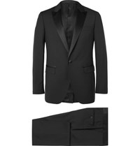 Lanvin Black Slim Fit Satin Trimmed Wool And Mohair Blend Tuxedo Black