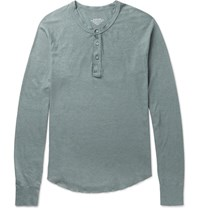 Save Khaki United Cotton Blend Henley T Shirt Gray Green