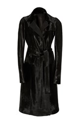 J. Mendel Cavallino Trench Coat Black