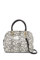 Cole Haan Benson Snake Embossed Large Leather Dome Satchel Black
