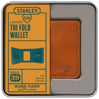 Stanley Tri Fold Leather Wallet Tan