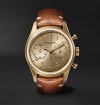 Montblanc 1858 Automatic Chronograph 42Mm Bronze And Leather Watch Gold