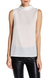 French Connection Polly Plains Mock Neck Tank White