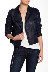 Paige Premium Denim Sacha Silk Lined Leather Jacket Blue
