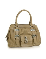 Buti Grained Leather Zippered Satchel Bag Brown