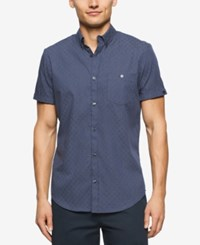 Calvin Klein Men's Small Grid Short Sleeve Shirt Navy Blazer