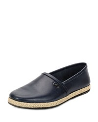 Salvatore Ferragamo Giunone 2 Leather Espadrille Shoe Blue Marine