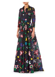 Carolina Herrera Embroidered Floral Trench Gown Navy Multi