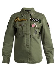 Marc Jacobs Patch And Brooch Embellished Cotton Jacket Green