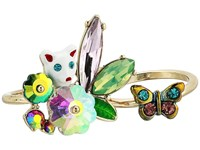 Betsey Johnson Colorful Stone And Cat Cluster Ring Set Of 2 Multi Ring