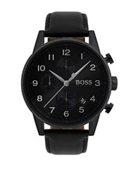 Hugo Boss Navigator Round Stainless Steel And Leather Strap Chronographic Watch Black