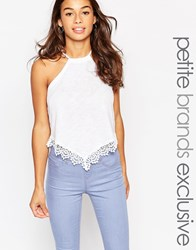 New Look Petite Lace Up Cami White