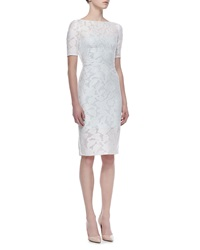 Pamella Roland Short Sleeve Lace Overlay Cocktail Dress Ivory