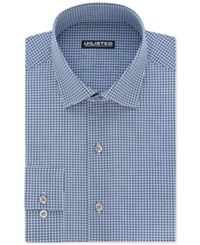 Unlisted By Kenneth Cole Men's Slim Fit Checked Dress Shirt Blue Frost