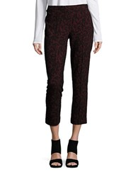 Michael Michael Kors Lace Patterned Straight Leg Cropped Pants Cinnabar