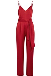Diane Von Furstenberg Satin Jumpsuit Red