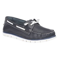 Lotus Silverio Leather Boat Shoes Navy