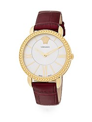 Versace Krios Stainless Steel And Embossed Leather Watch Red Gold
