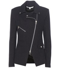 Veronica Beard Lounge Moto Pinstripe Wool Blazer Blue