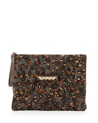 Valentino Oversized Feather Print Clutch Bag