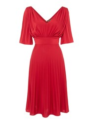 Biba Pleated Luxe Occasion Dress Red
