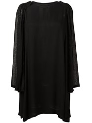 Ann Demeulemeester Back Slit Shift Dress Black