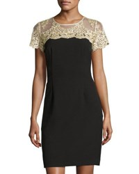 Chetta B Plus Short Sleeve Lace Yoke Sheath Dress Blk Gold