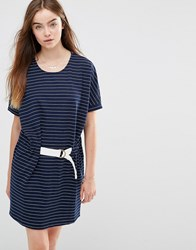Shades Of Grey Judo Belt Bag Striped Dress Navy White Stripe