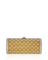 Judith Leiber Cylinder Beaded East West Clutch Bag Champagne Champagne Multi