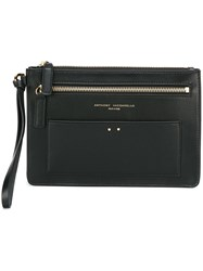 Anthony Vaccarello Gold Tone Details Pochette Clutch Black