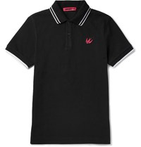 Mcq By Alexander Mcqueen Slim Fit Contrast Tipped Cotton Pique Polo Shirt Black