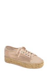 Marc Fisher Women's Ltd Macey Perforated Espadrille Platform Sneaker Tan Fabric