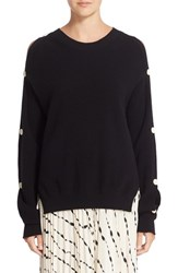 Helmut Lang Women's Button Sleeve Cotton And Cashmere Sweater