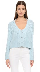 Tess Giberson Exaggerated Cable V Neck Sweater Sky Blue