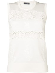 Dolce And Gabbana Lace Trimmed Knitted Top White
