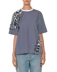 Msgm Short Sleeve Stripe And Gingham Tee Blue