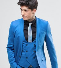 Noose And Monkey Super Skinny Suit Jacket With Stretch Blue