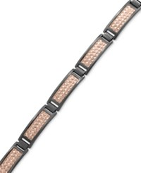 Effy Men's Herringbone Link Bracelet In Black Rhodium Plated And 18K Rose Gold Plated Sterling Silver